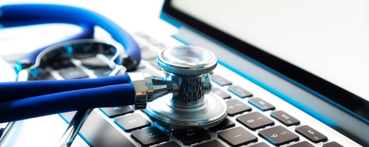 tethoscope on laptop keyboard